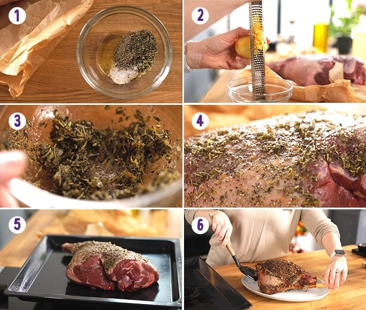6 image collage showing how to roast a leg of lamb