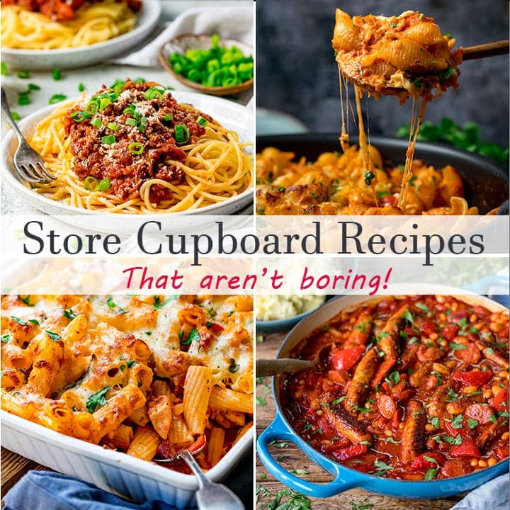 four pictures of store cupboard recipes