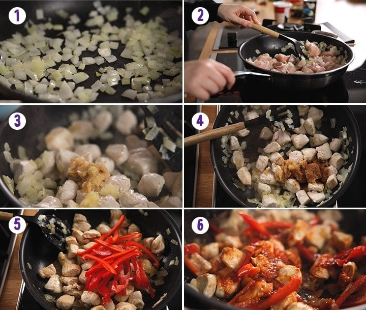 6 image collage showing the initial stages of making Thai red chicken curry