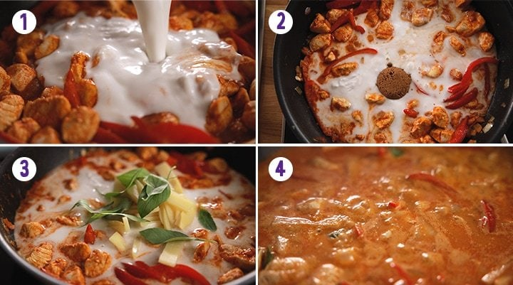 4 image collage showing the end stages of making Thai red chicken curry