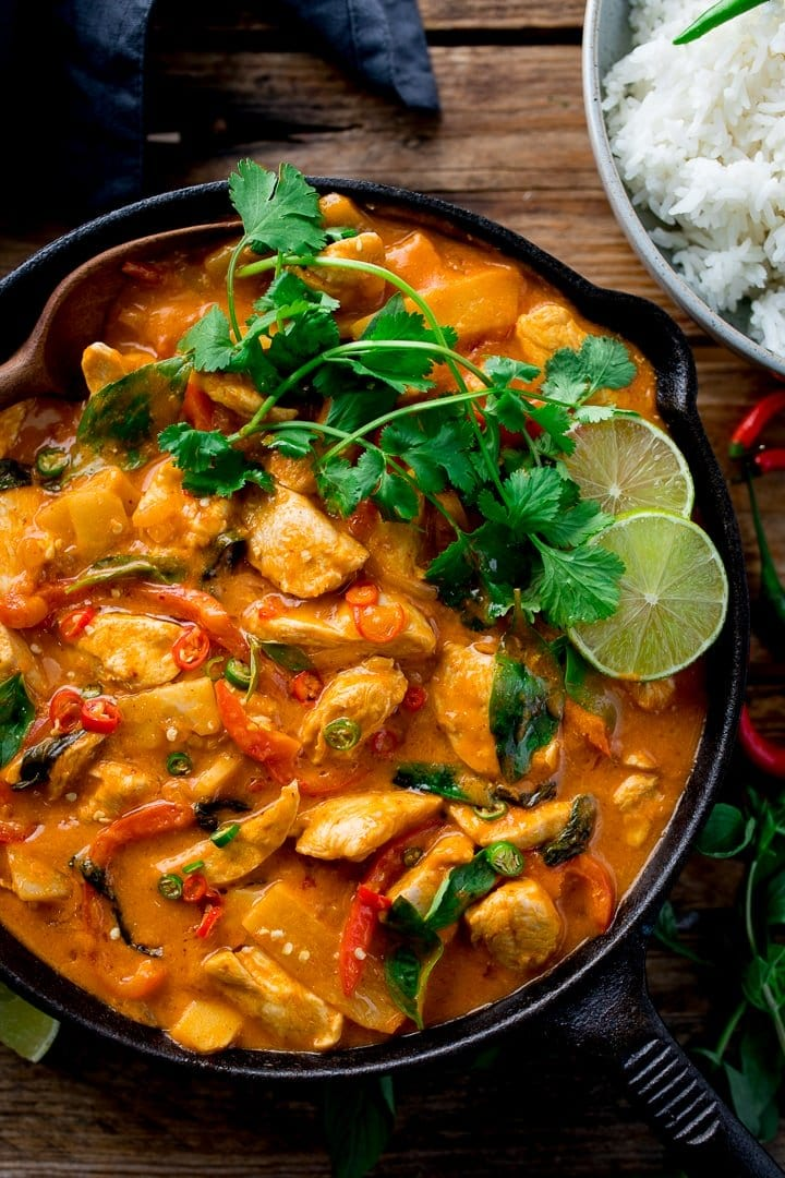 Thai red chicken curry in a pan