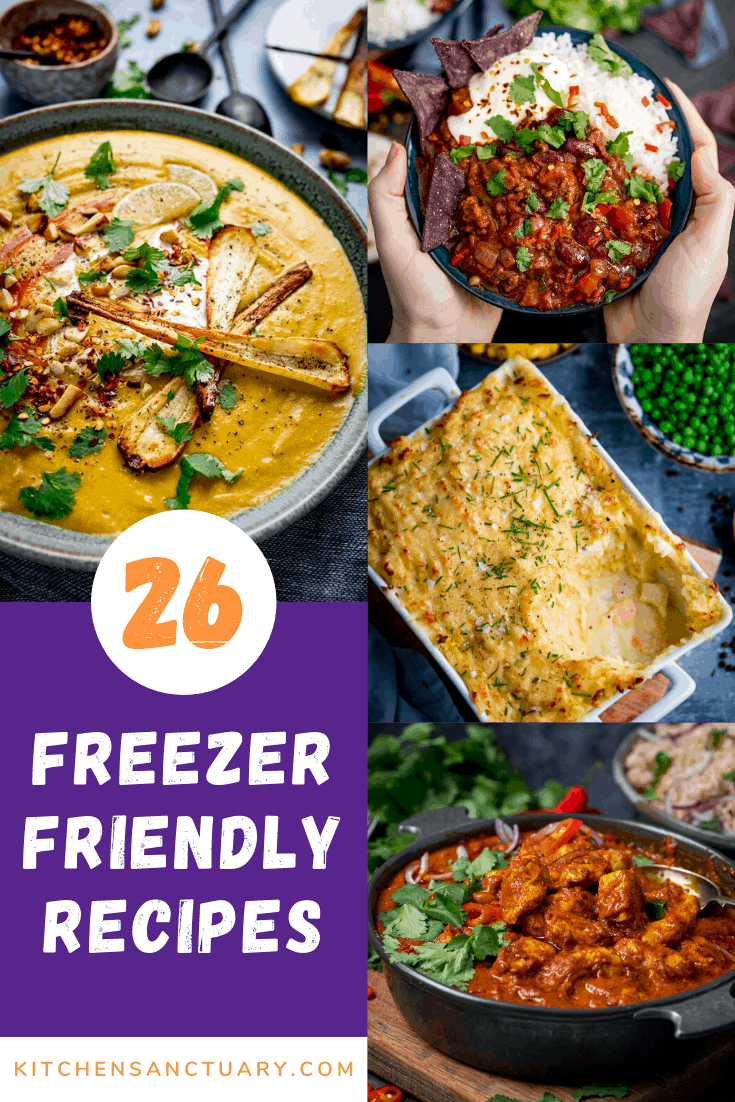 four images of food with the text reading 26 freezer friendly recipes
