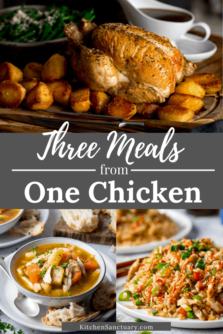 3 image collage show recipes to make from 1 chicken