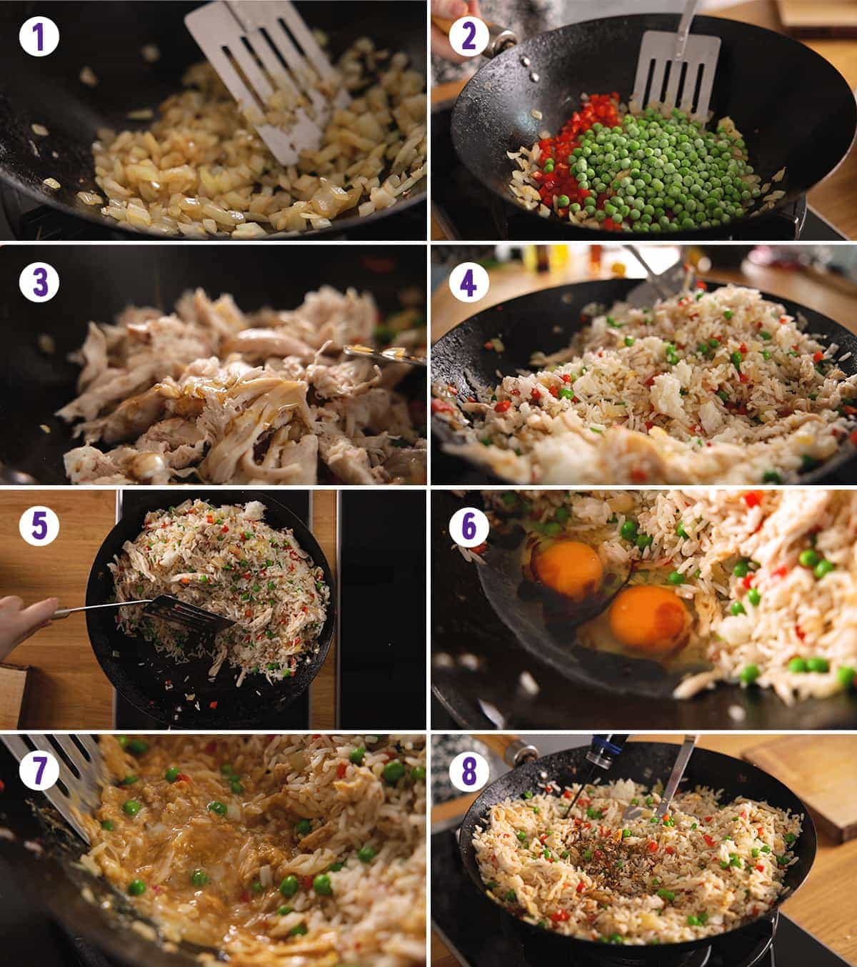 8 image collage showing how to make Chicken Fried Rice