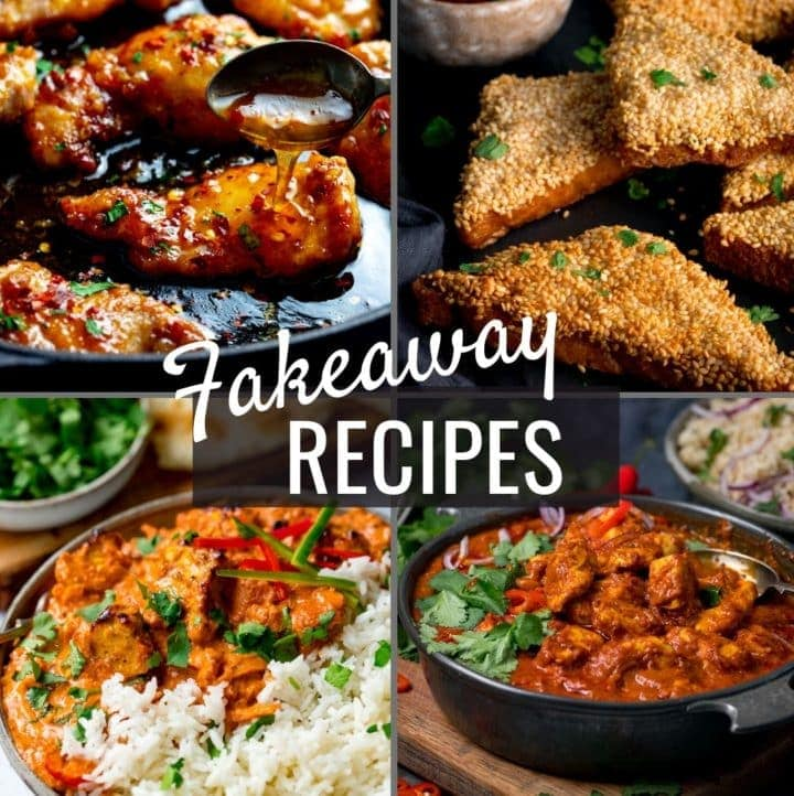 4 images of takeaway dished with the words fakeaway recipes over the top