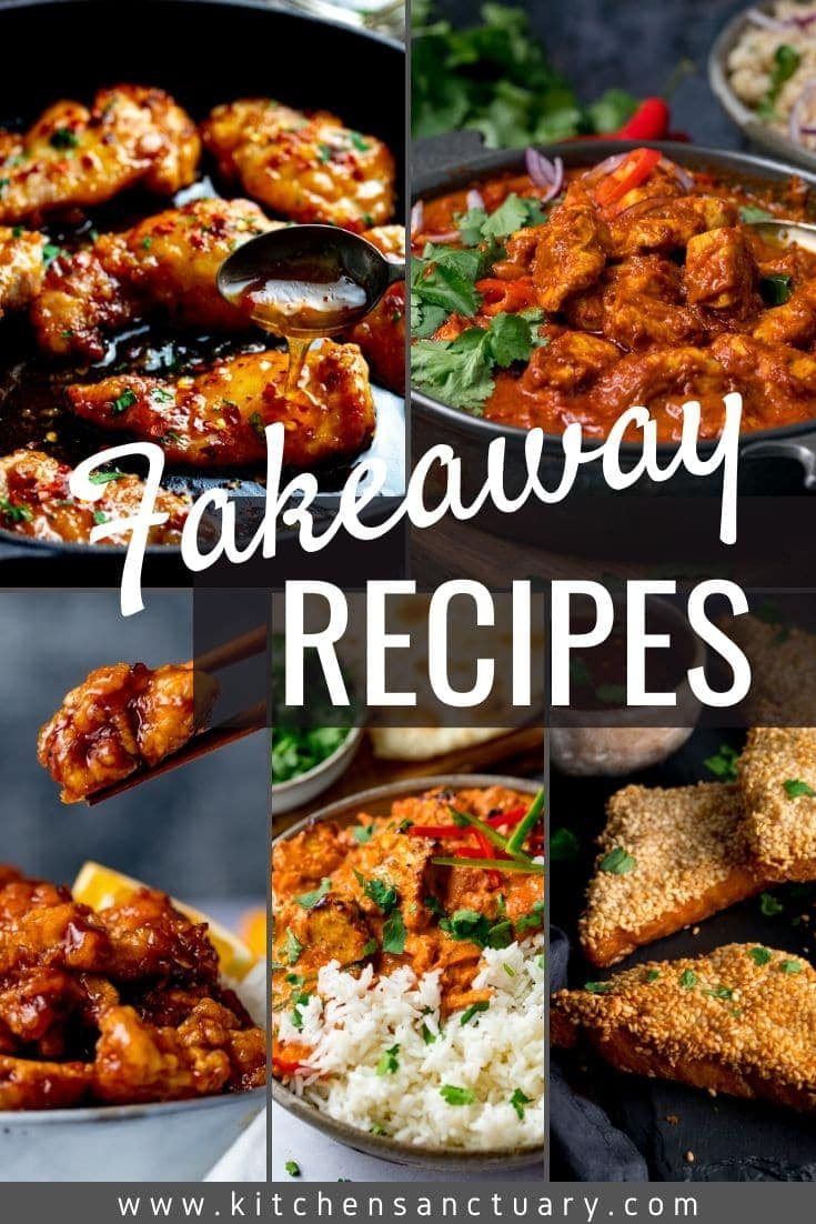 5 images of takeaway dishes such as curry with the works fakeaway recipes over the top