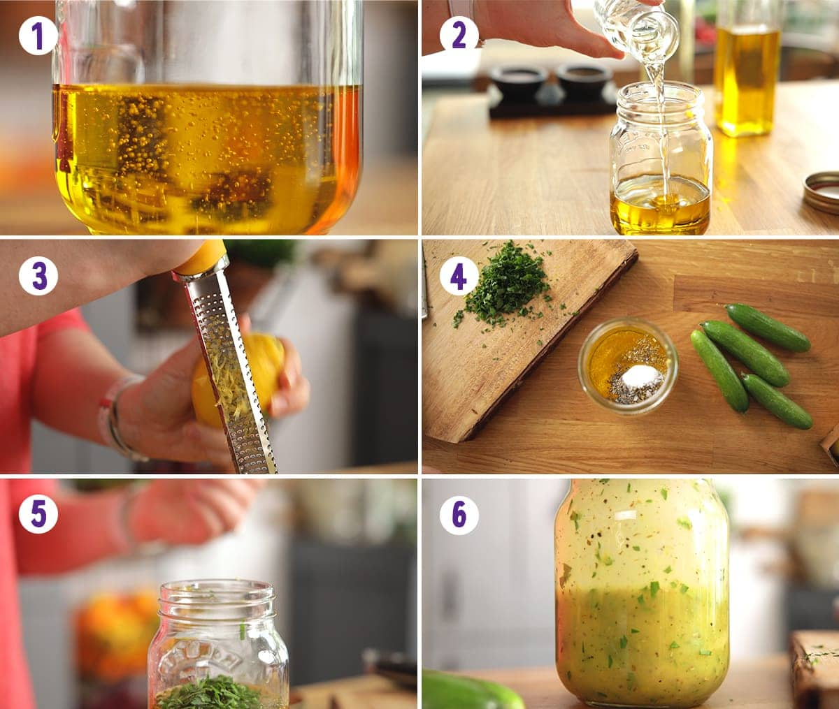 6 image collage showing how to make an Italian dressing for pasta salad