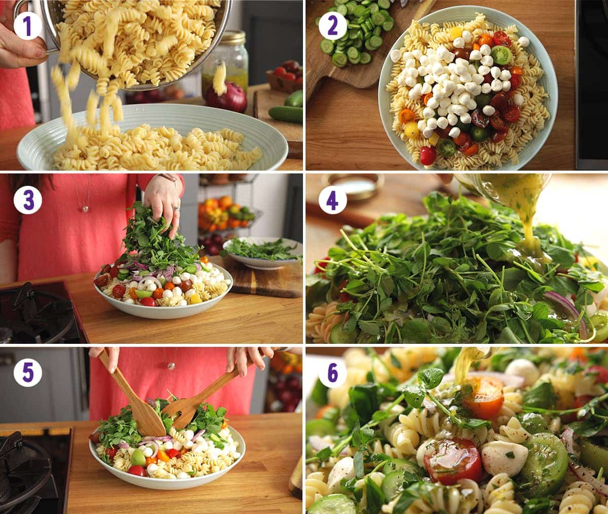 6 image collage showing how to make bowl of pasta salad