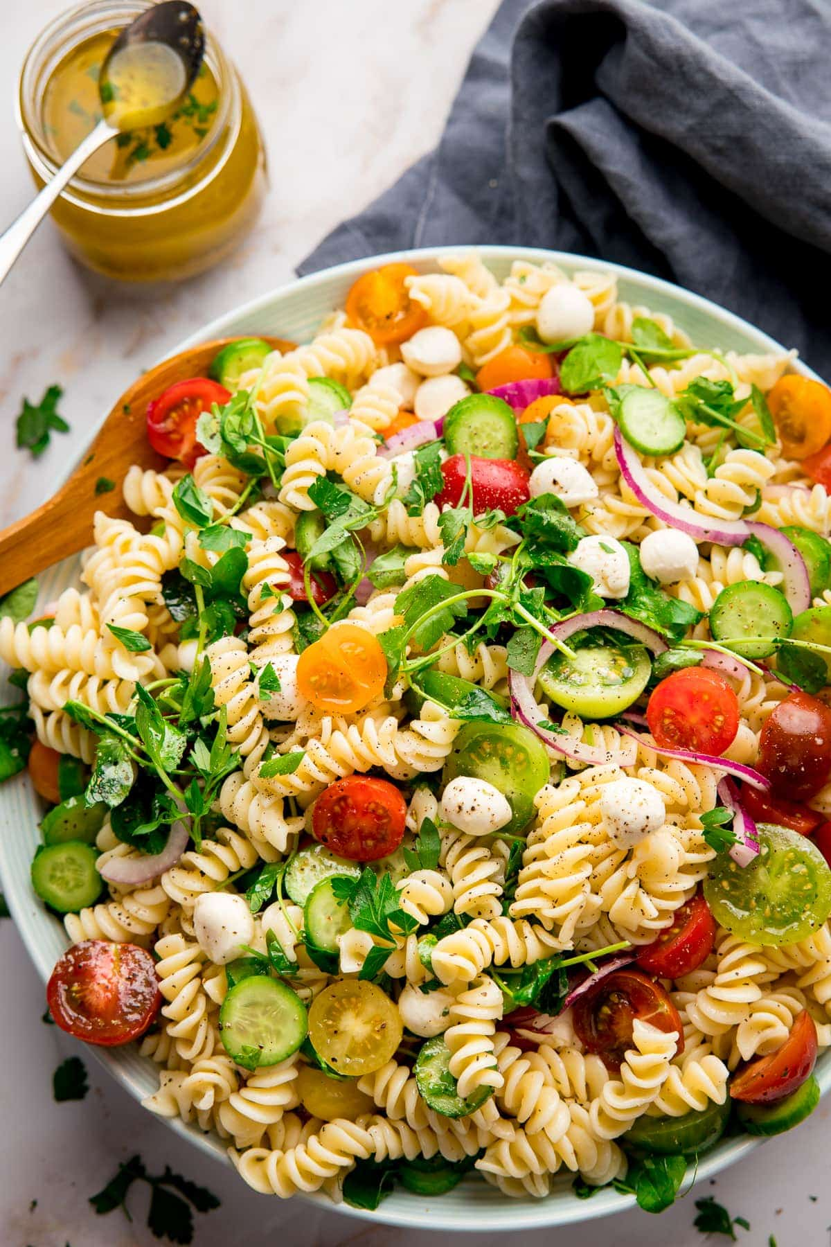 Large bowl filled with pasta salad