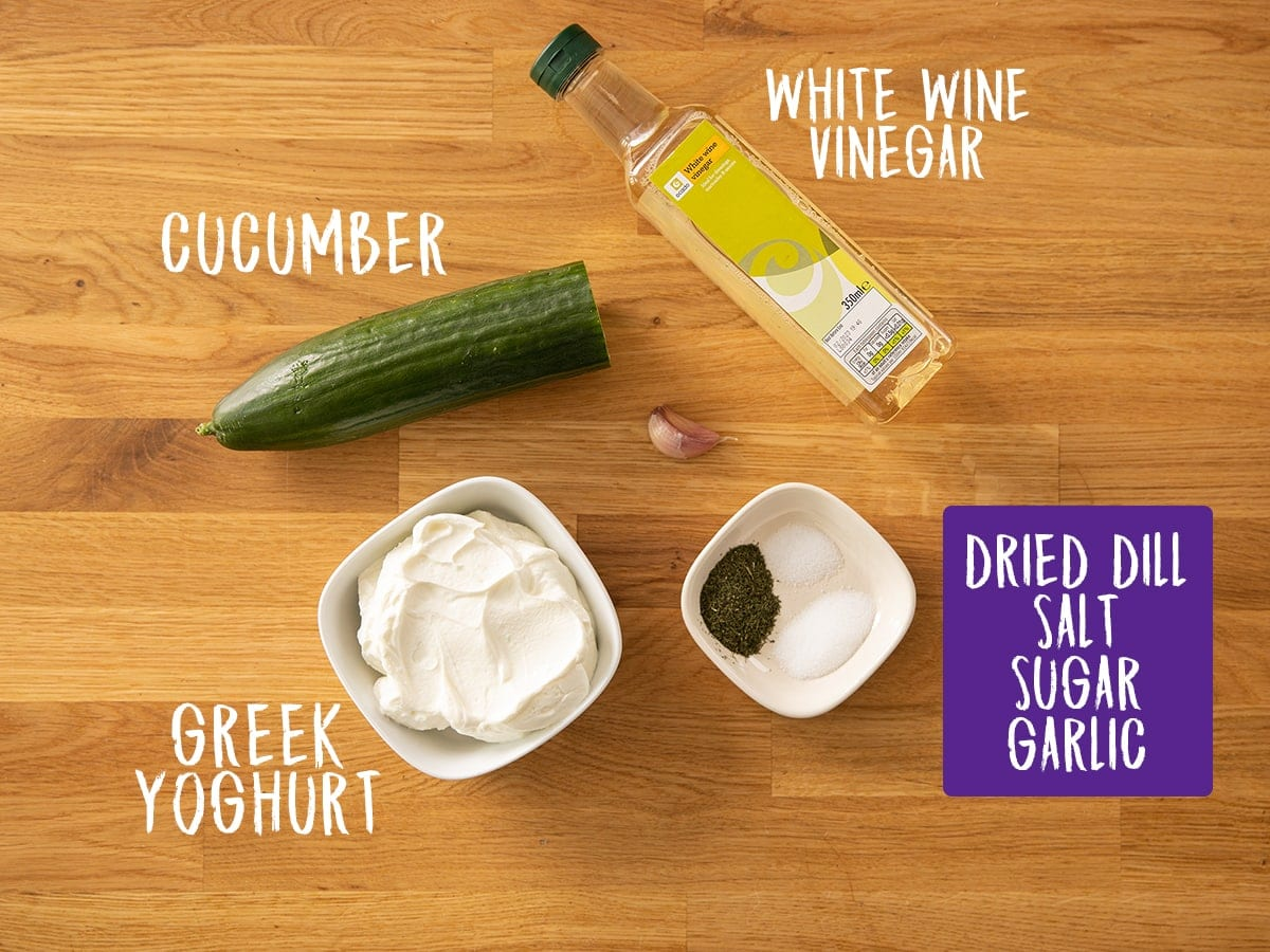 Ingredients for Tzatziki on a wooden table