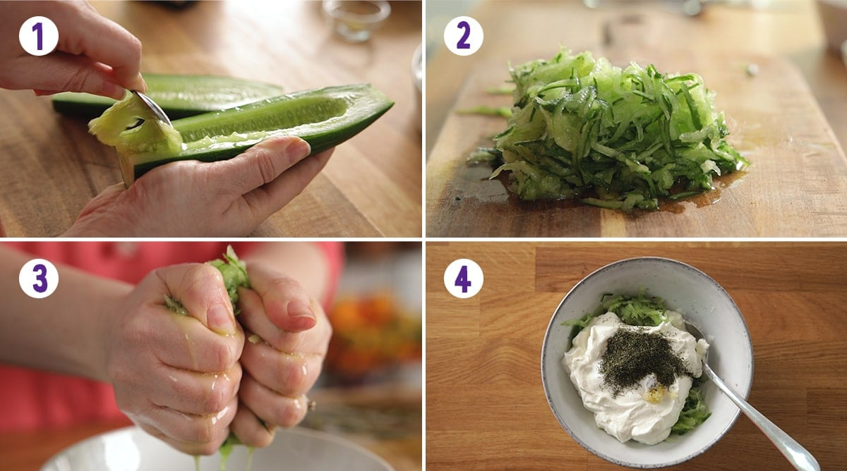 4 image collage showing how to make Tzatziki