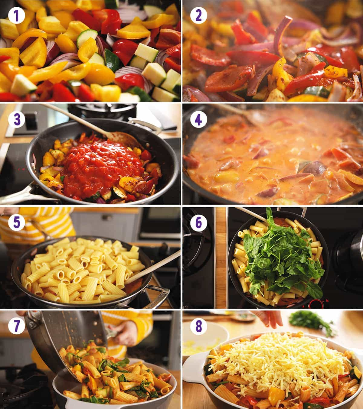 8 image collage showing steps for making vegetable pasta bake