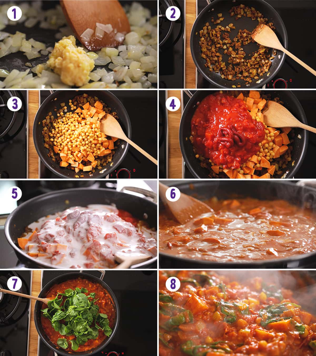 8 image collage showing how to make chickpea and sweet potato curry