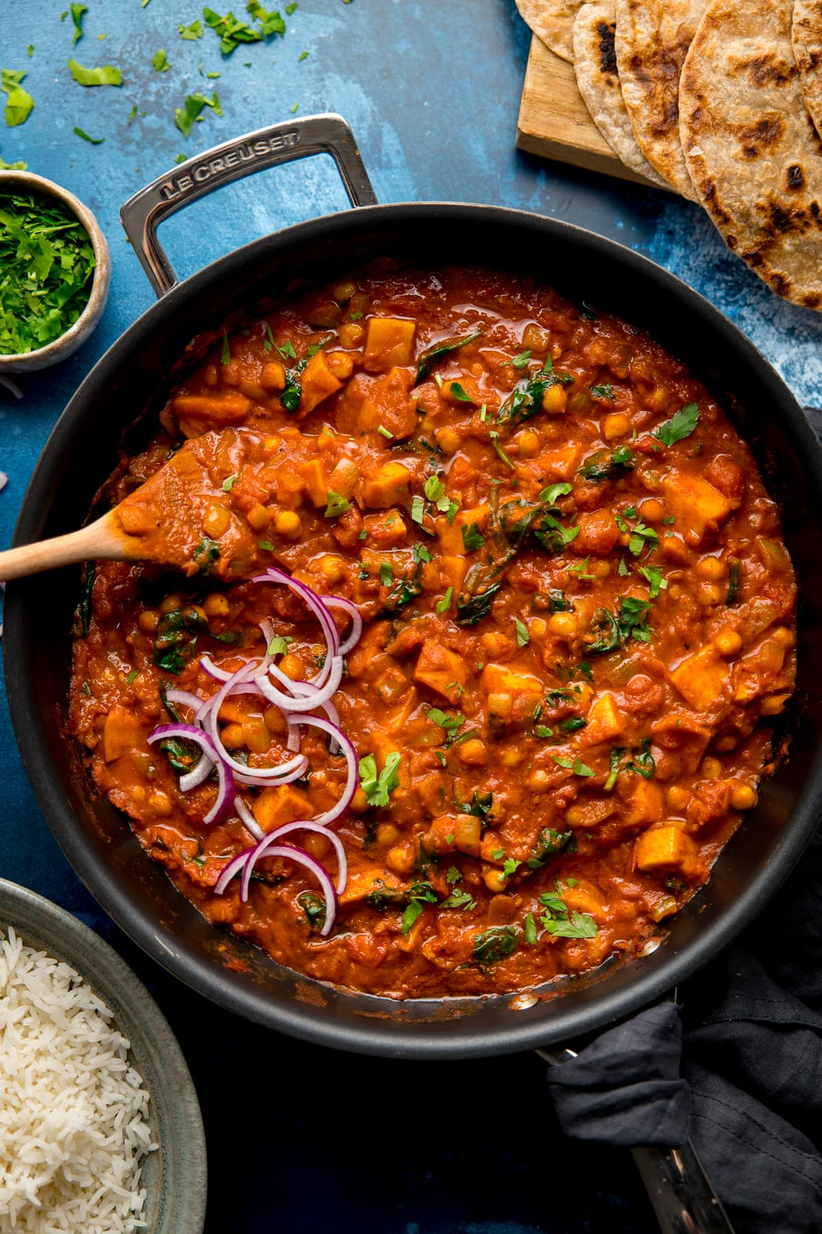 chickpea and sweet potato curry in a pan