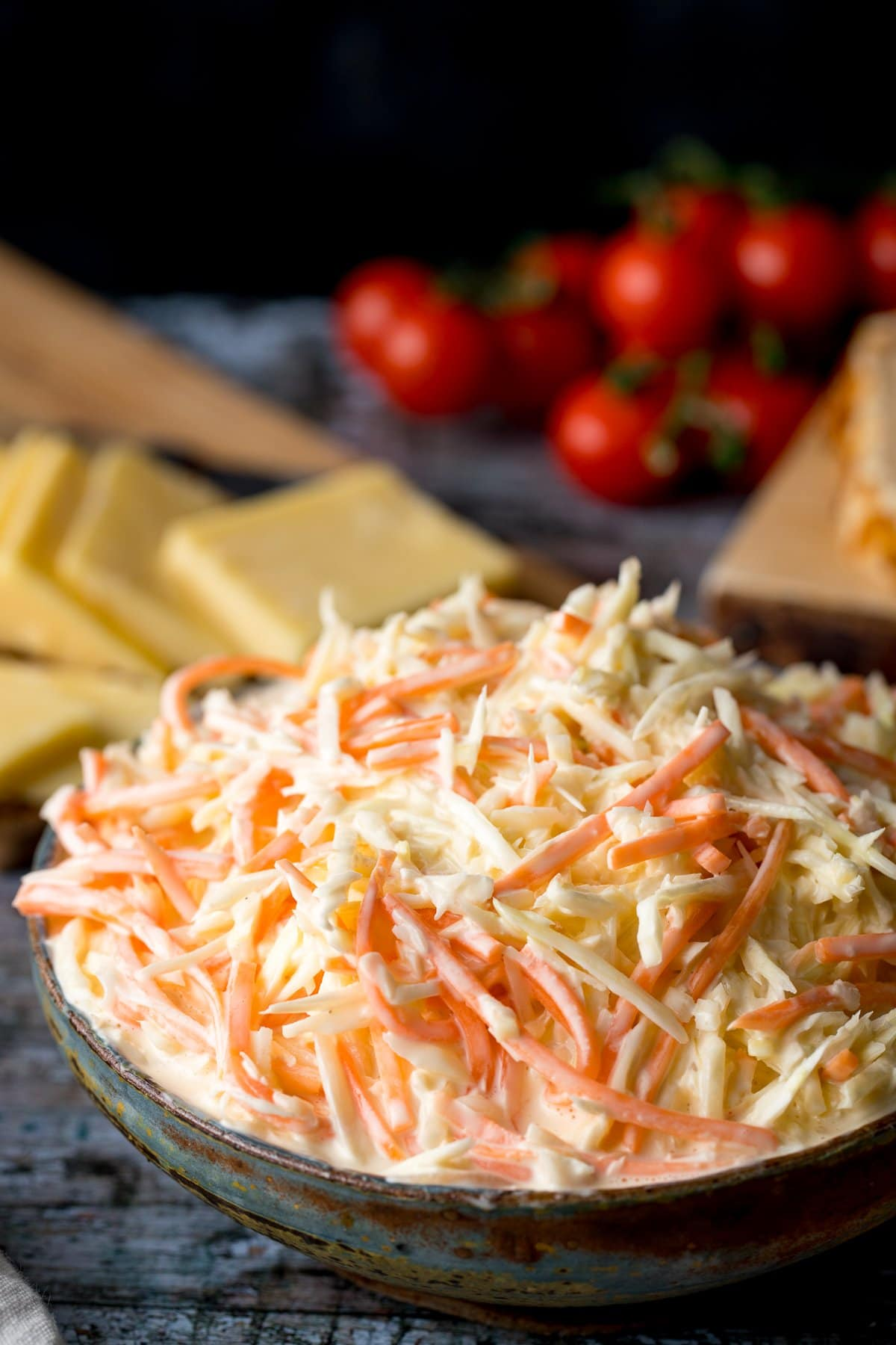 Close up of of a bowl of coleslaw