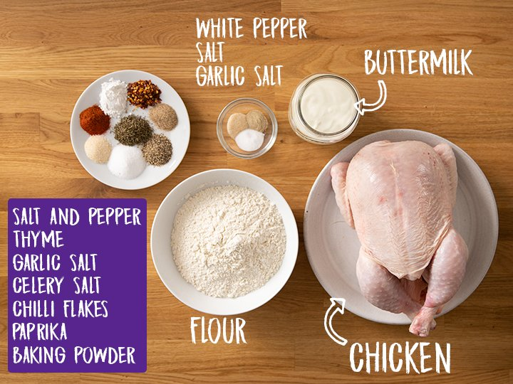Ingredients for crispy fried chicken on a wooden table