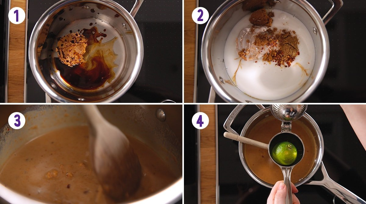 4 image collage showing how to make satay sauce