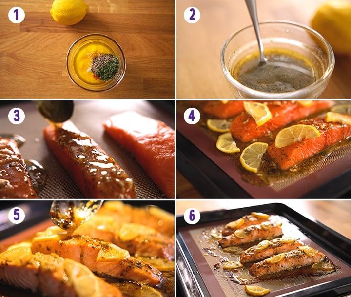 6 image collage showing how to make honey garlic baked salmon