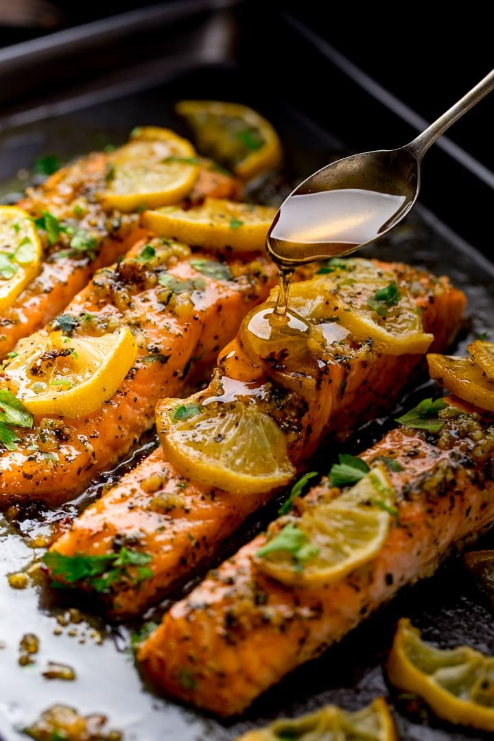 Honey Garlic Butter Baked Salmon Nicky S Kitchen Sanctuary