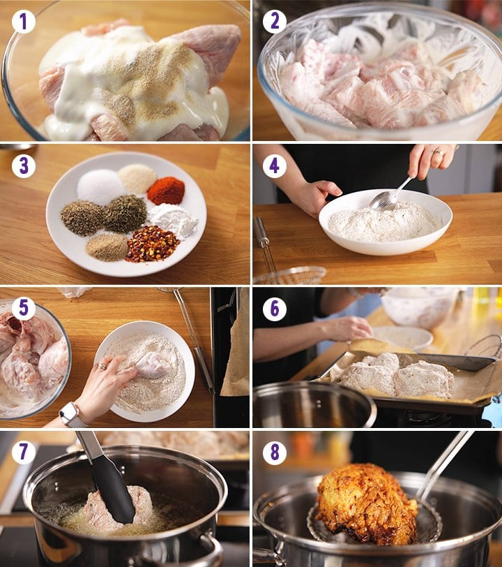 8 image collage showing how to make crispy fried chicken