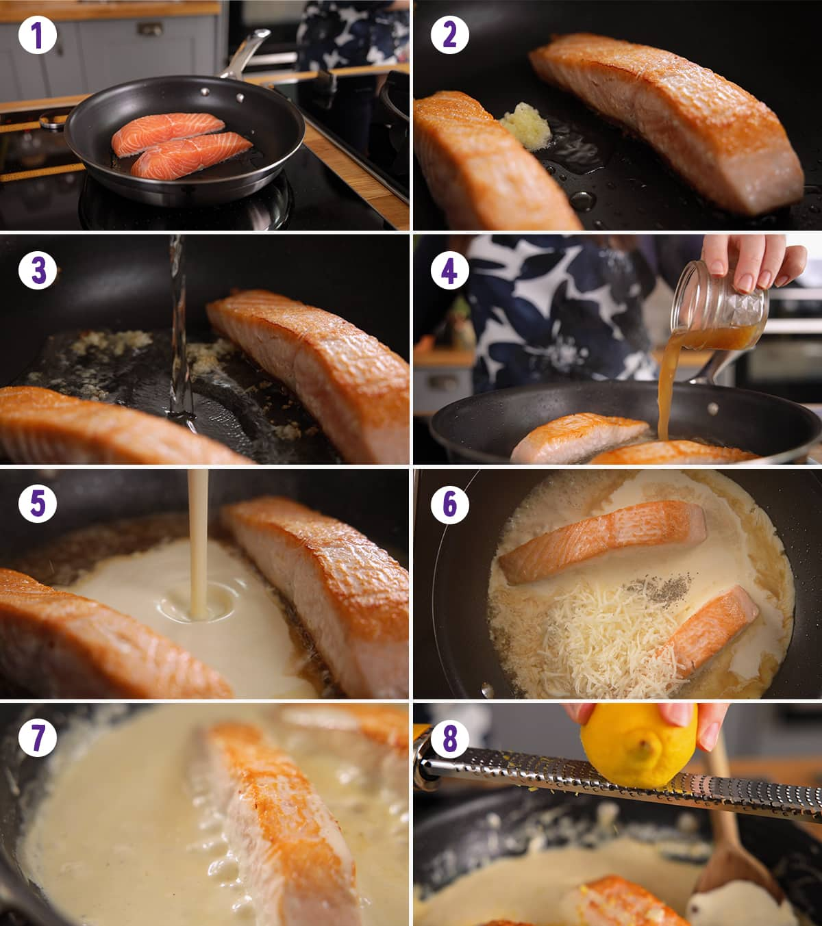8 image collage showing how to make salmon with creamy white wine sauce