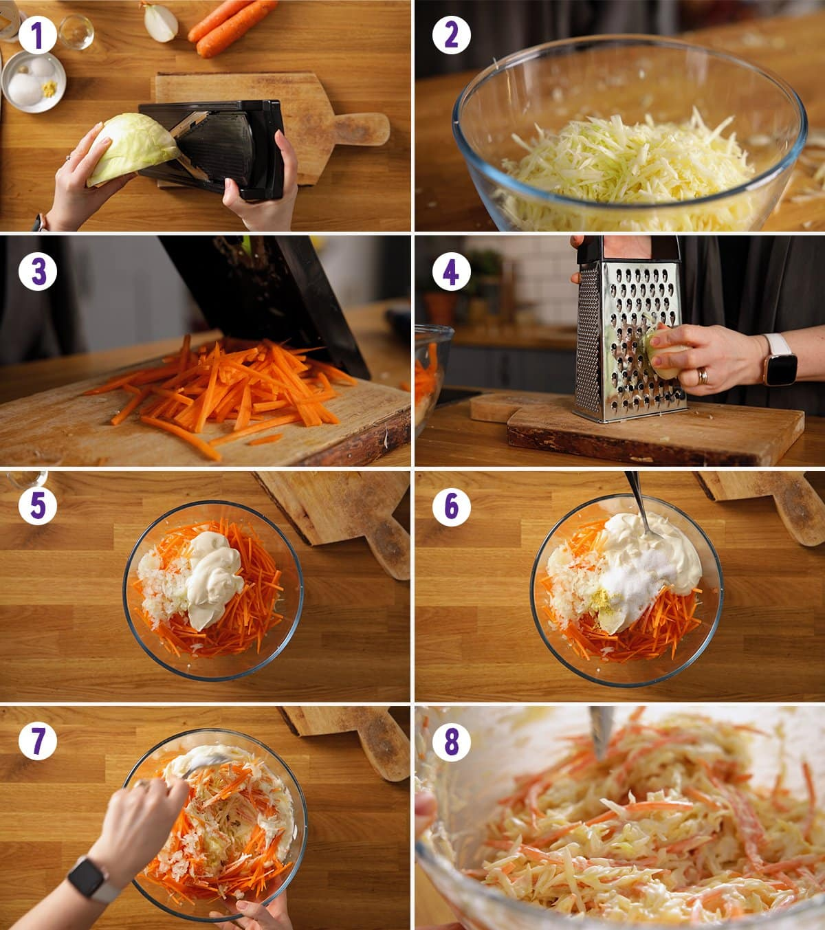 8 image collage showing how to make creamy coleslaw