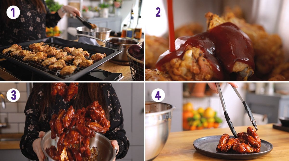 4 image collage showing how to smother crispy chicken wings in bbq sauce