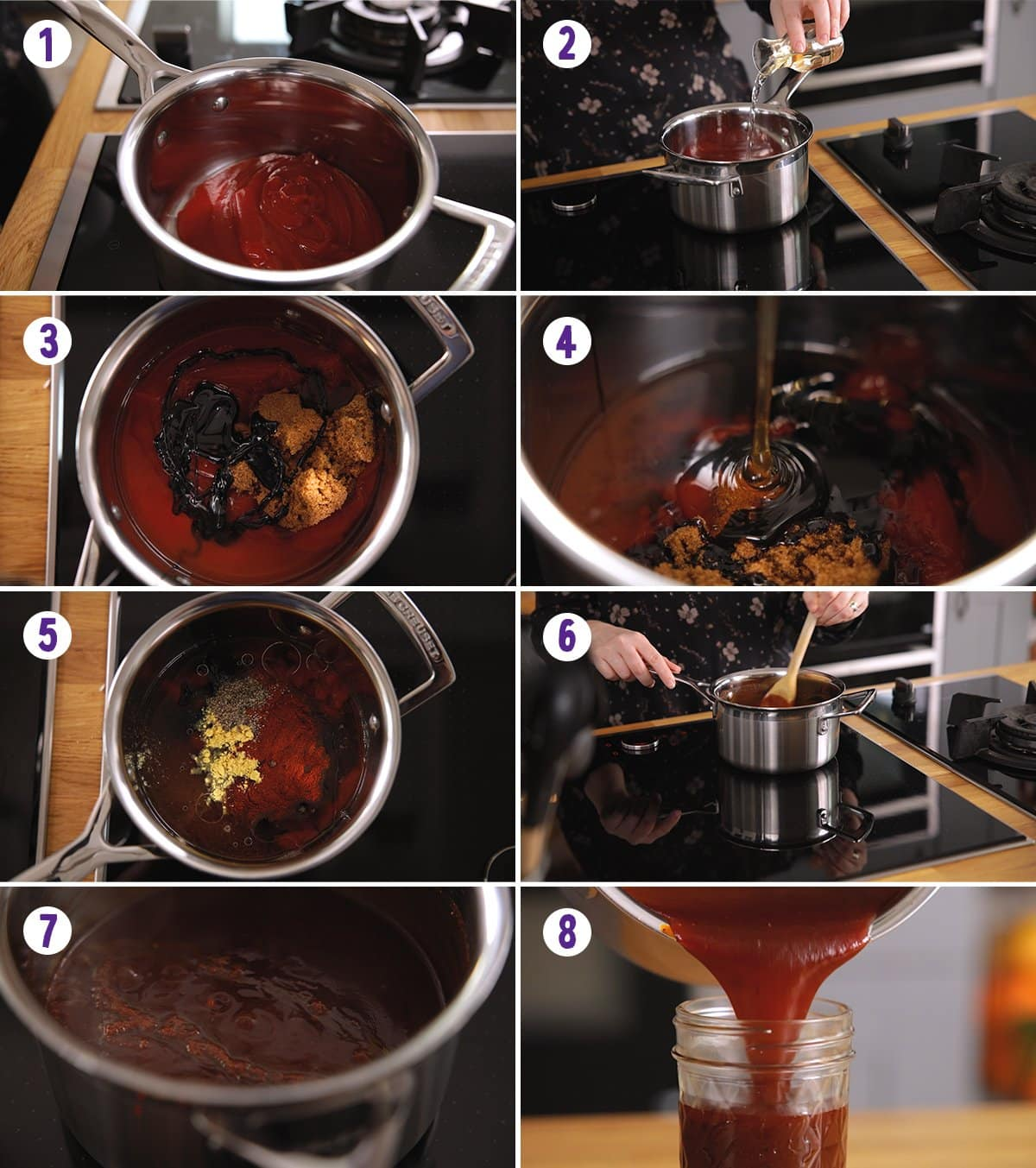 8 image collage showing how to make bbq sauce
