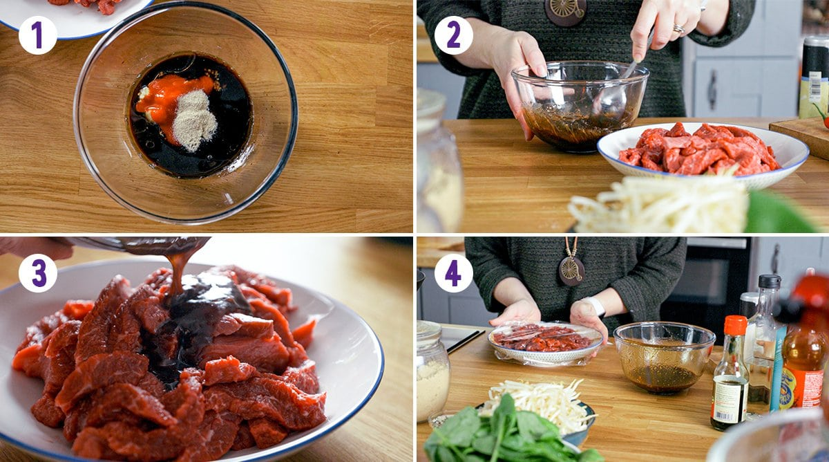 Collage of 4 images showing the process of making the marinade and marinading beef for beef chow fun