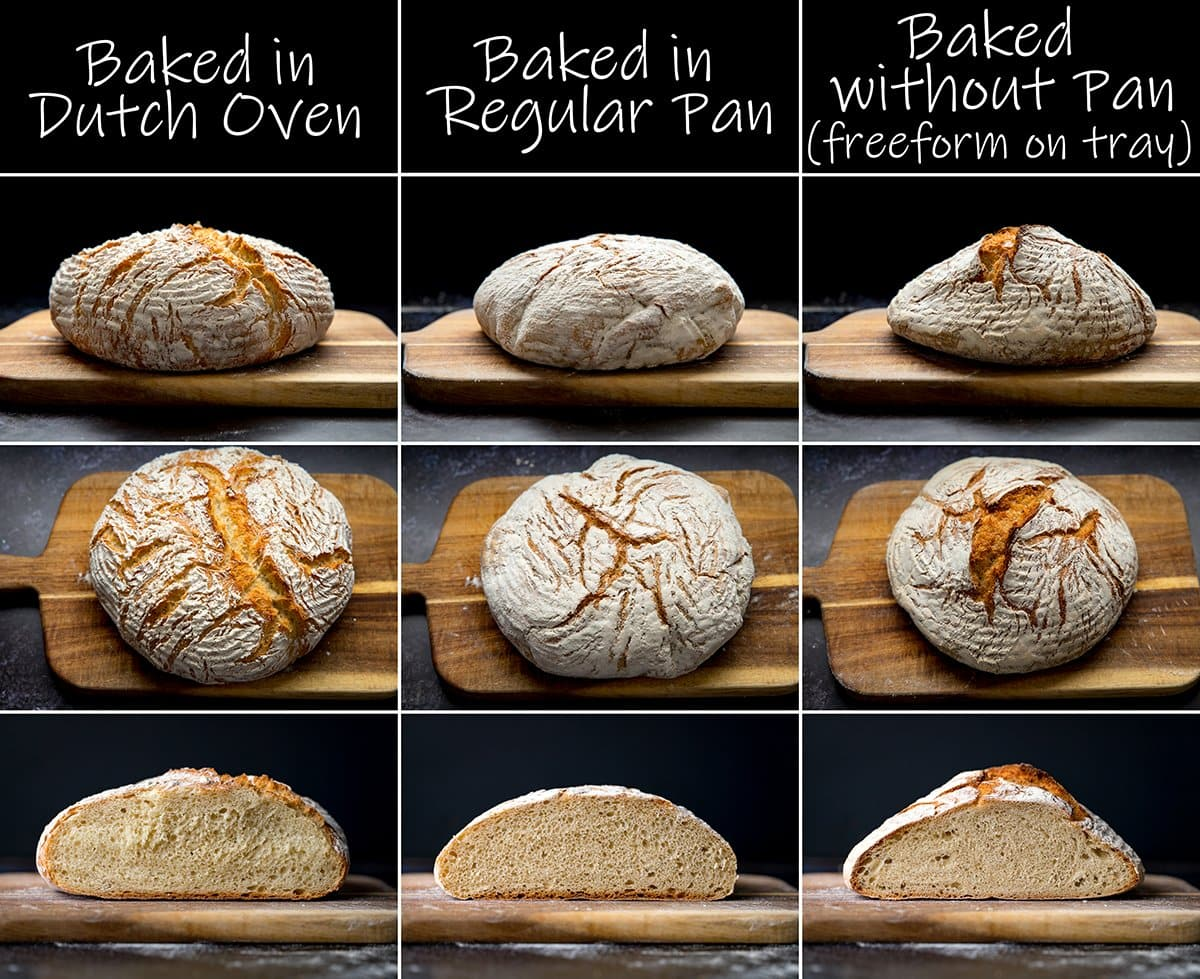 9 image collage showing difference in baking bread in a dutch oven, a regular pan or freeform