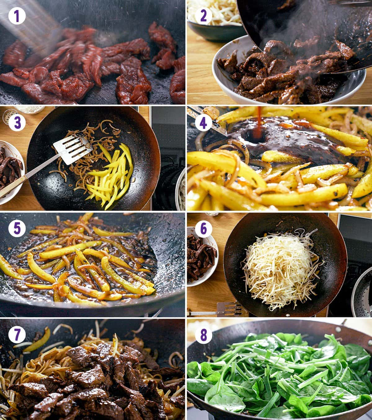 Collage of 8 images showing the process of making beef chow fun