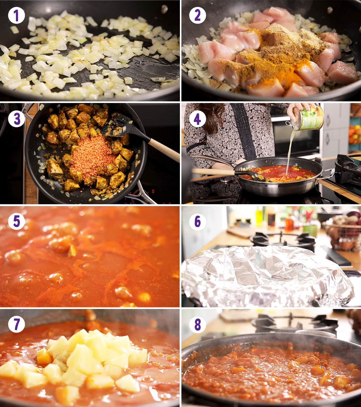 8 image collage showing how to make chicken dhansak