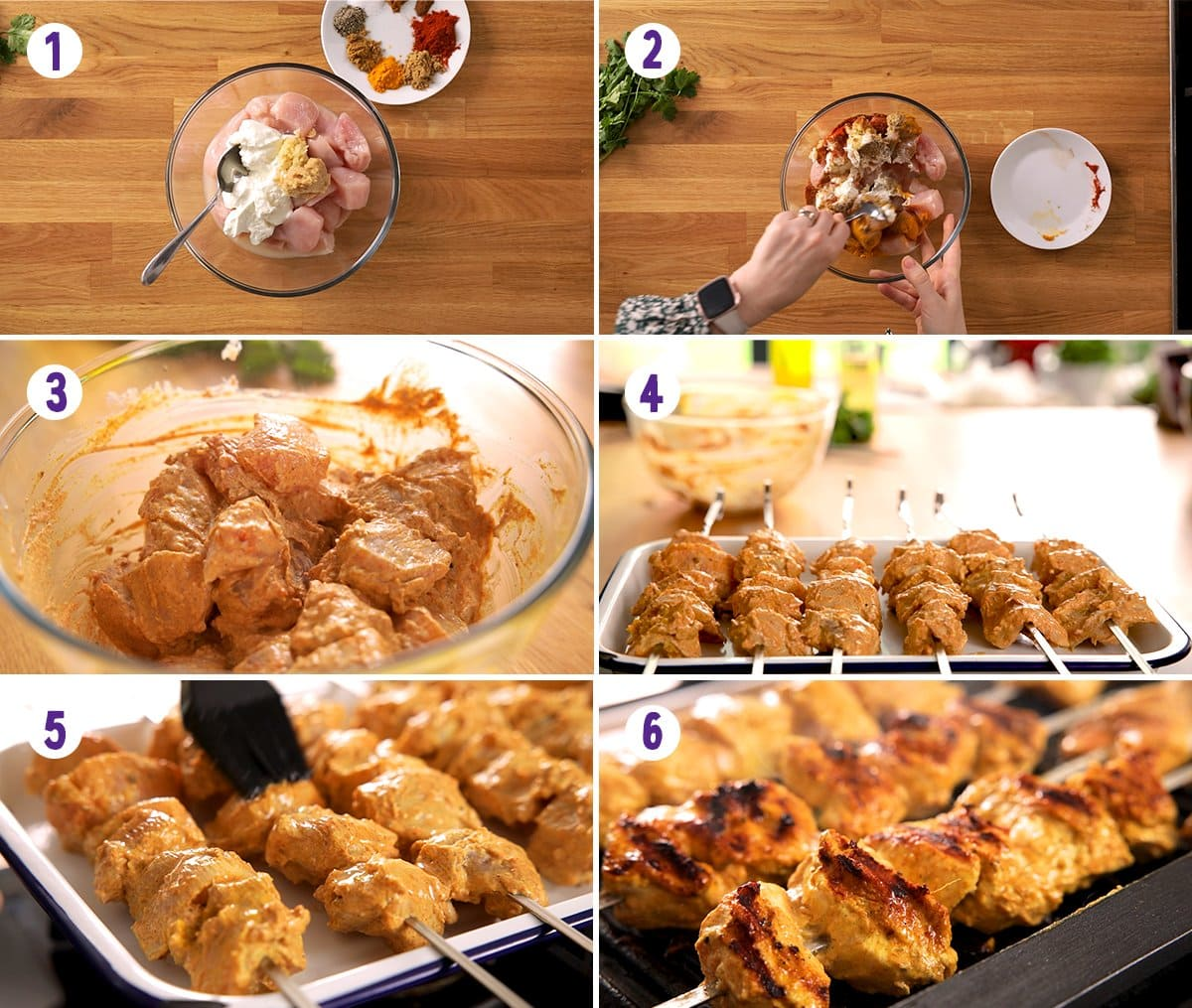 6 image collage showing how to make chicken tikka skewers