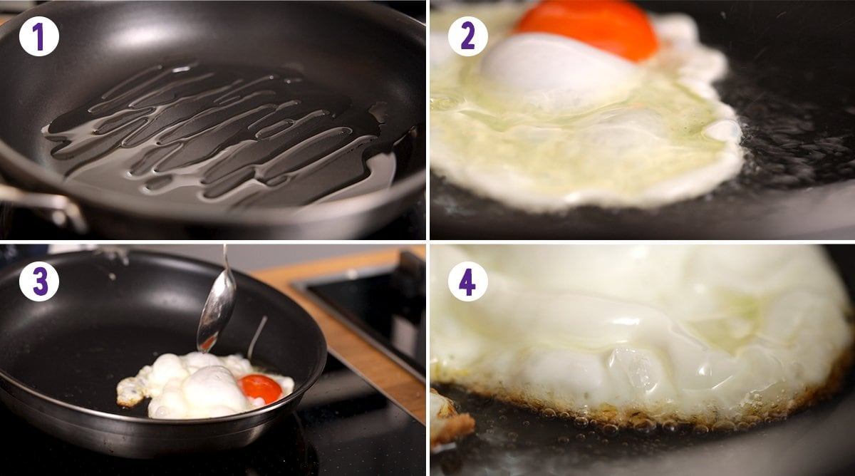 4 image collage showing how to fry and egg with crispy edges