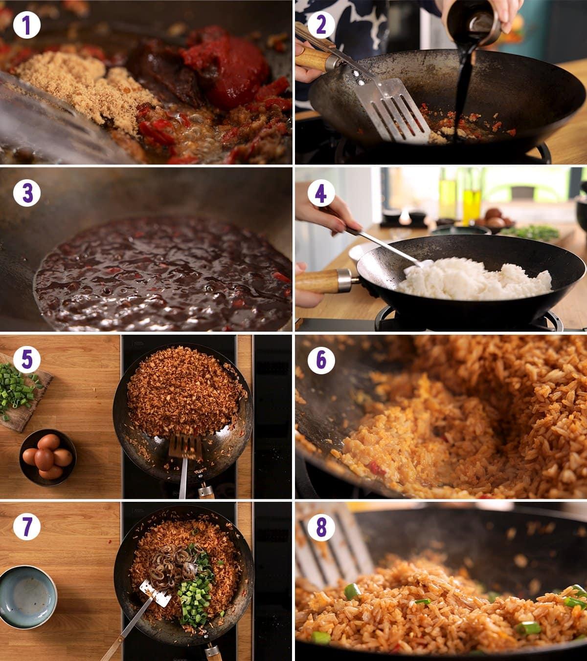 8 image collage showing how to make nasi goreng