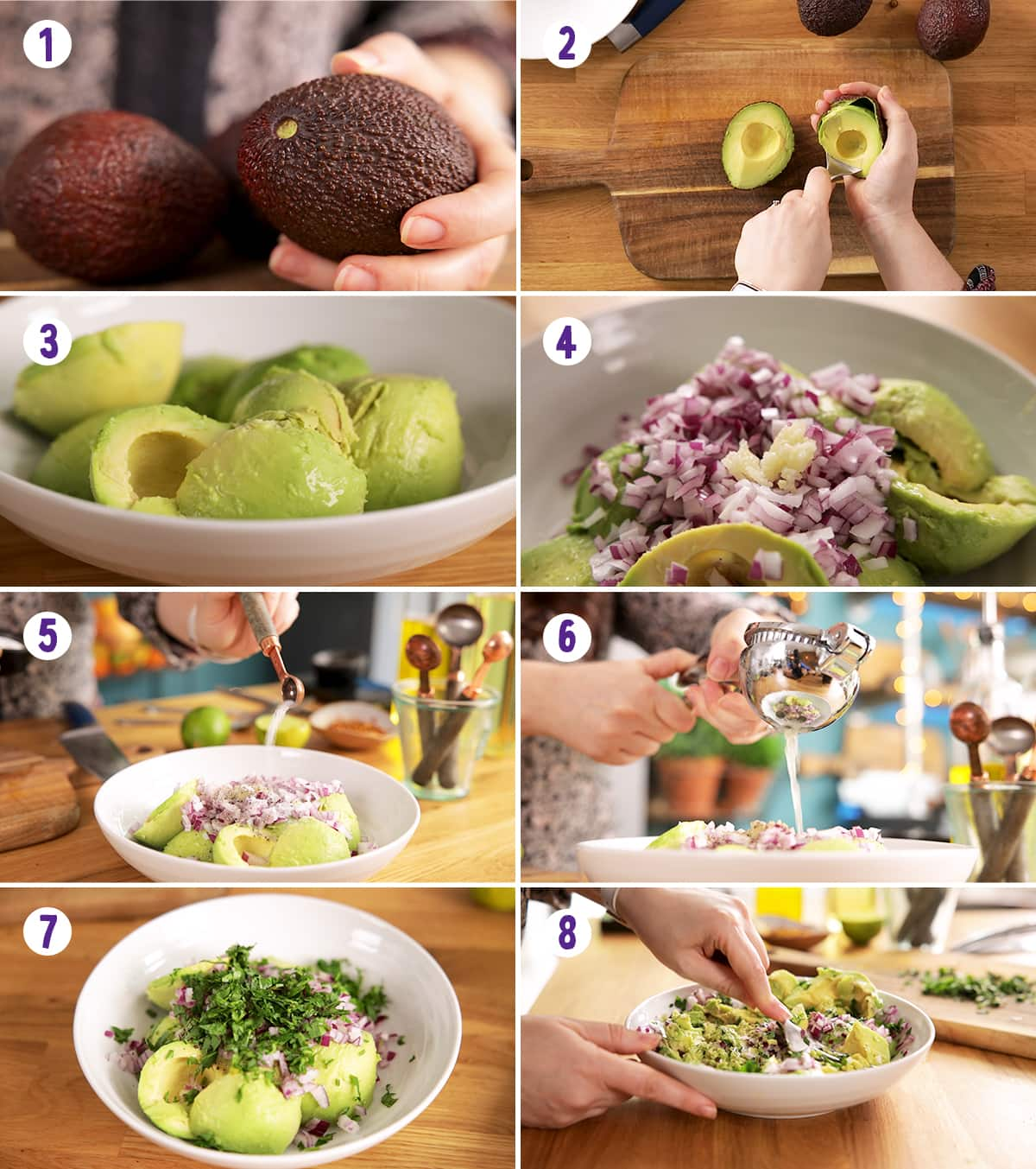 8 image collage showing the steps to make guacamole.