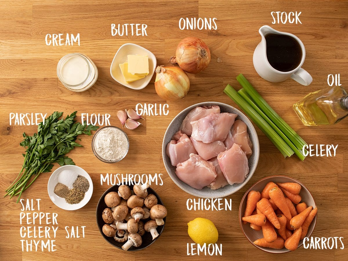 Ingredients for chicken casserole on a wooden table