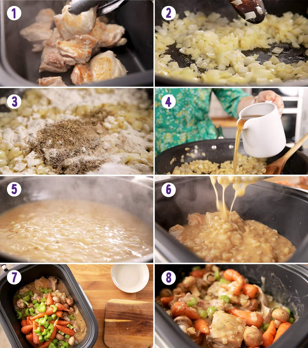 8 image collage showing how to make chicken casserole in the slow cooker