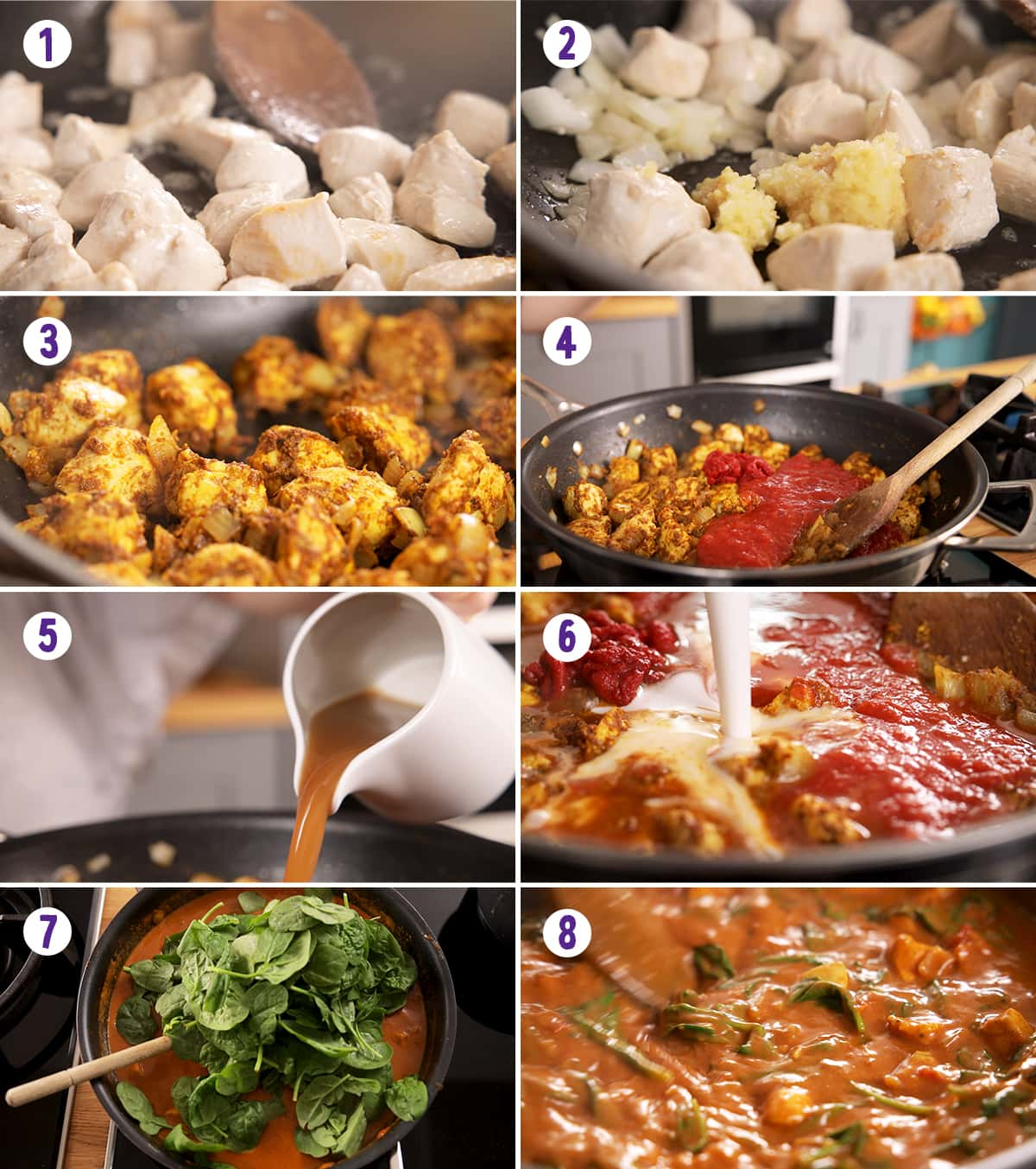 8 image collage showing how to make easy chicken curry