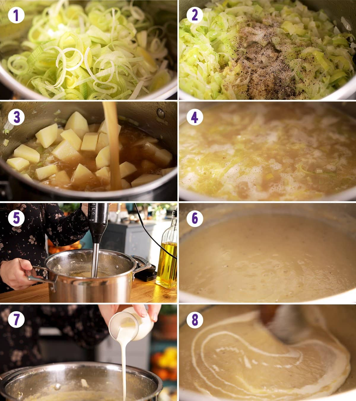 8 image collage showing how to make leek and potato soup