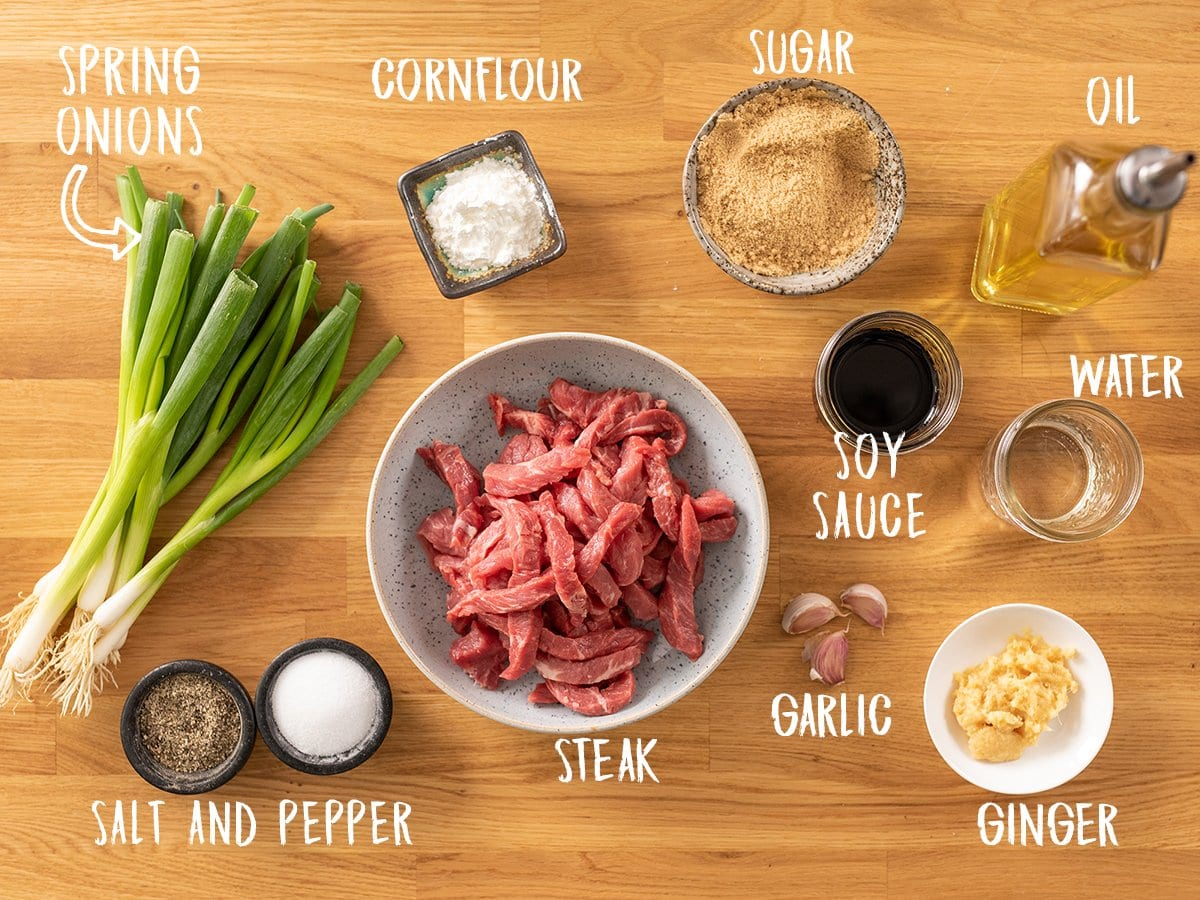 Ingredients for Mongolian Beef on a wooden table