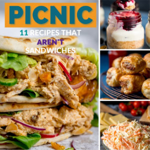 Collage of 4 pictures showing some picnic recipes.
