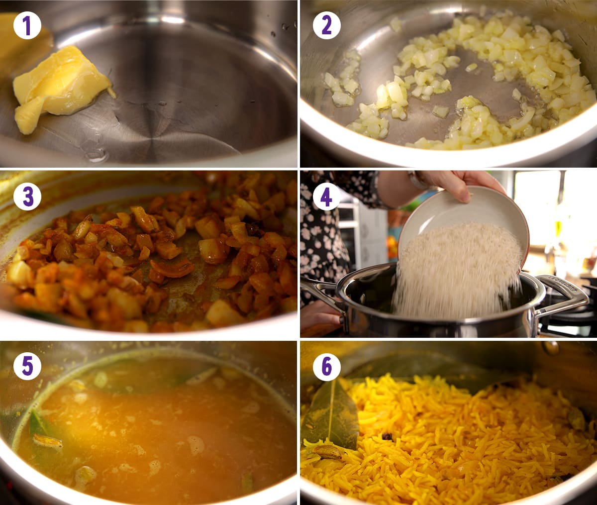 6 image collage showing how to make Pilau rice