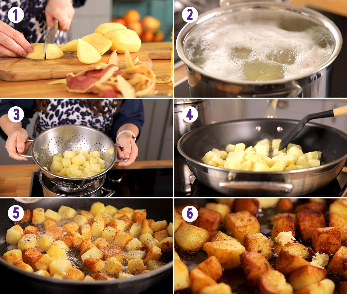 6 image collage showing how to make saute potatoes
