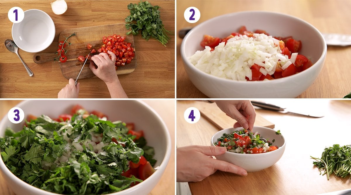 4 ingredients collage showing how to make tomato, onion and coriander chopped salad