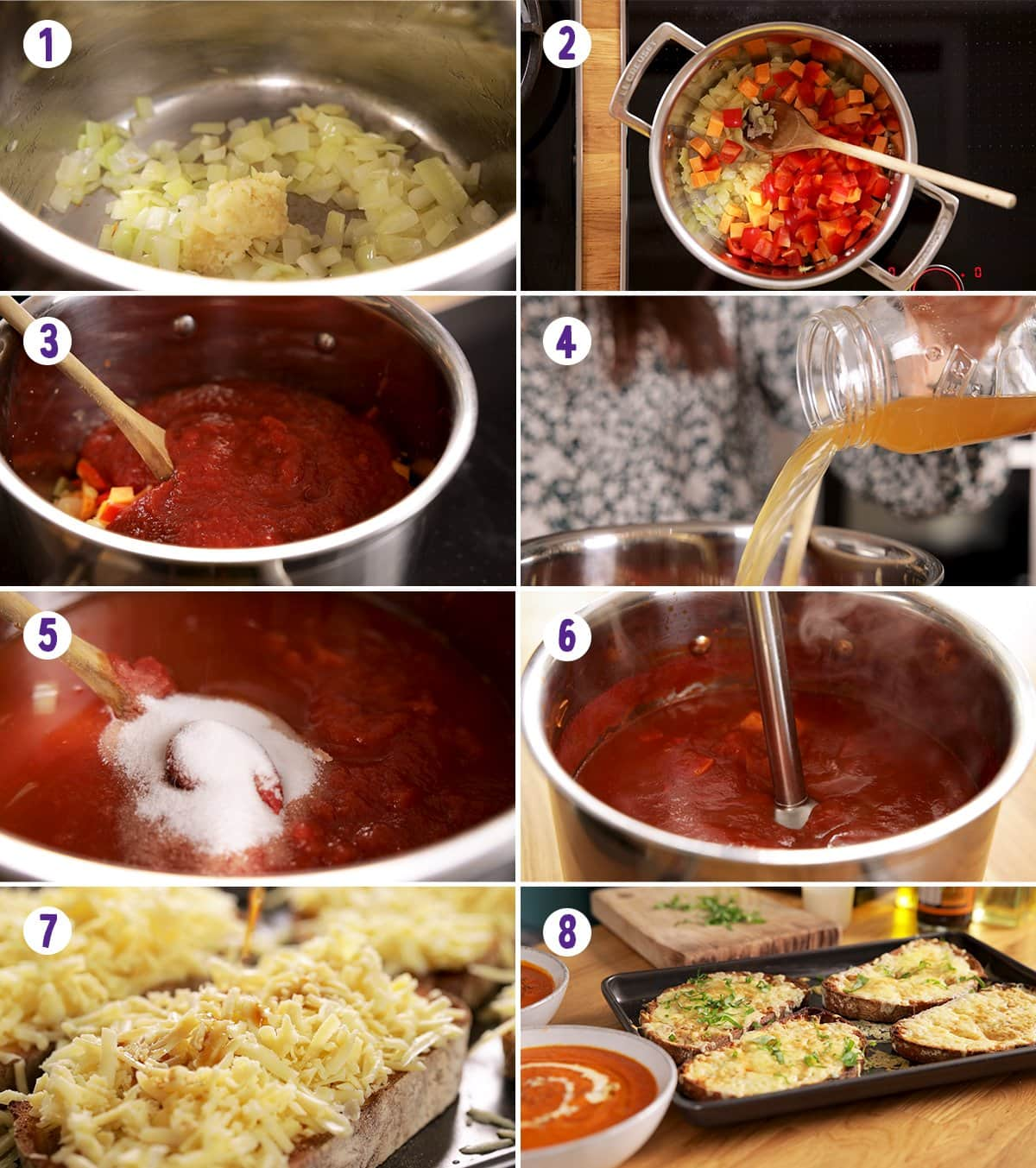8 step collage showing how to make tomato soup with basil-topped cheese on toast