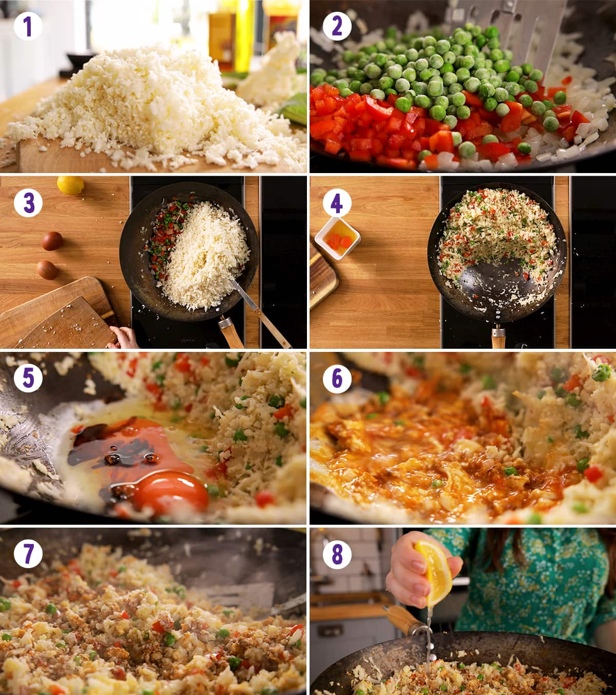 8 image collage showing how to make cauliflower fried rice
