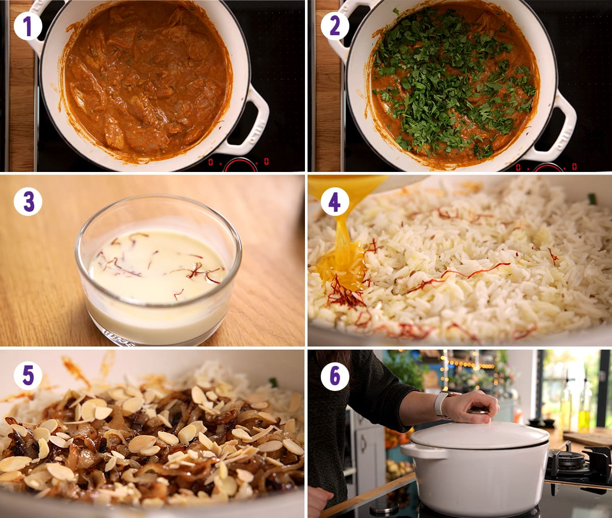 6 image collage showing how to make chicken biryani