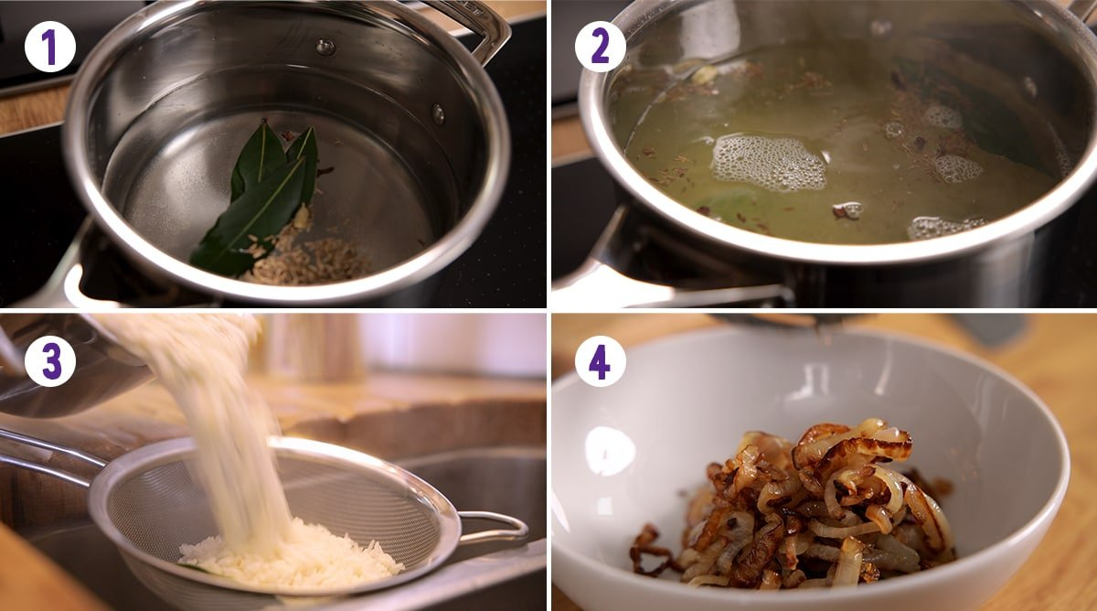 4 image collage showing how to par boil rice and fry onions for chicken biryani