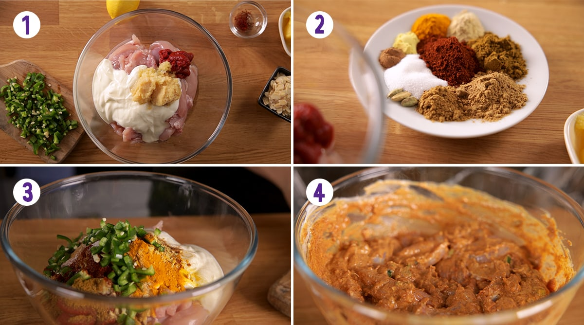 4 image collage showing how to marinade chicken for chicken biryani